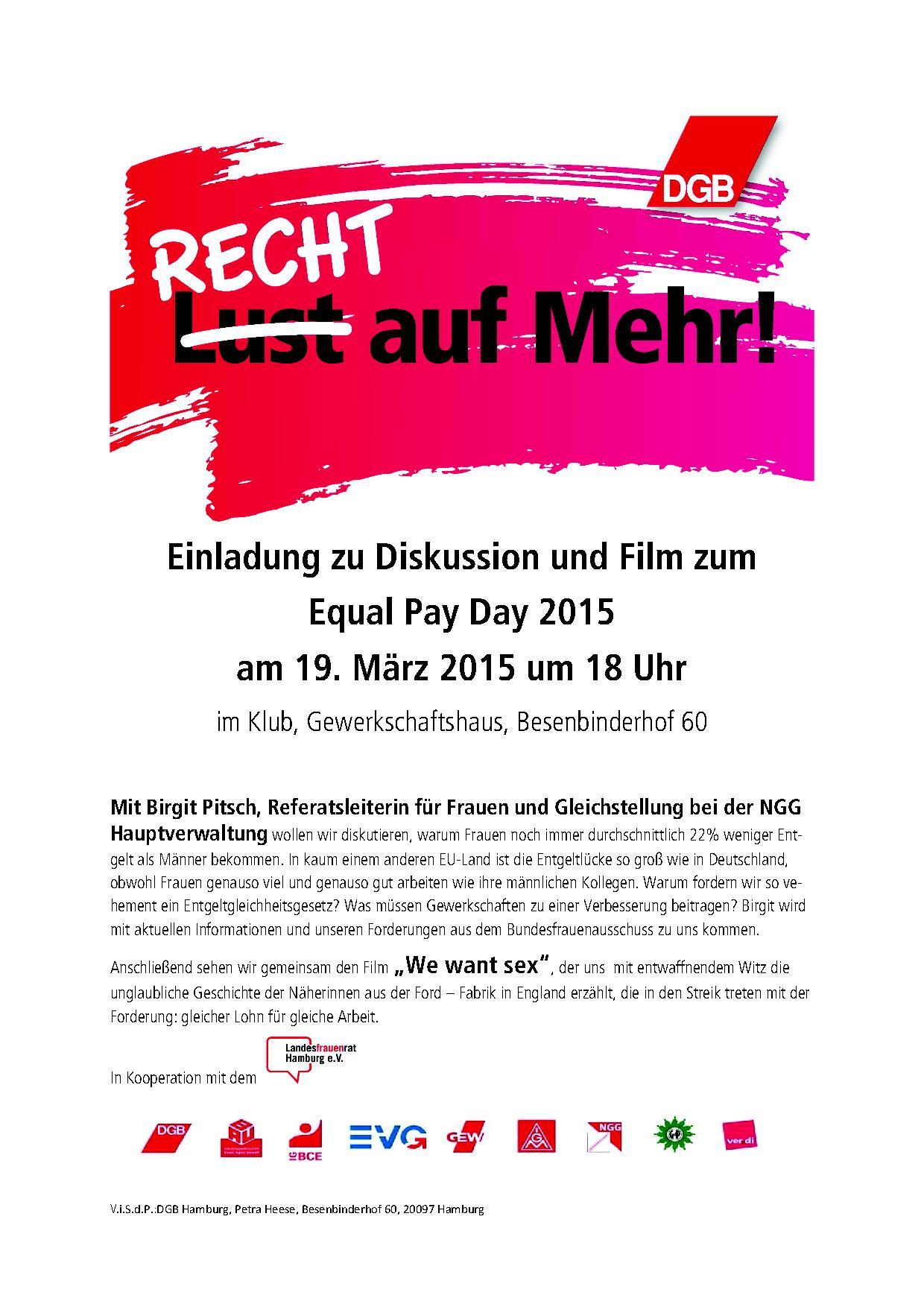 Einladung zu Diskussion und Film zum Equal Pay Day 2015   GEW Hamburg