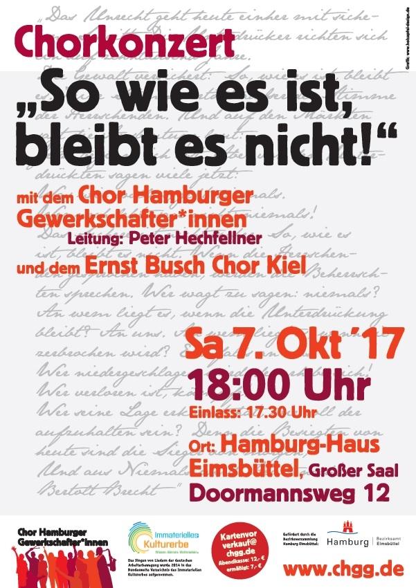 Chorkonzert mit dem Chor Hamburger Gewerkschafter*innen