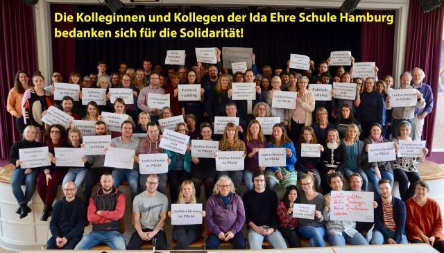 Die Kolleginnen und Kollegen der Ida Ehre Schule bedanken sich für die Solidarität!