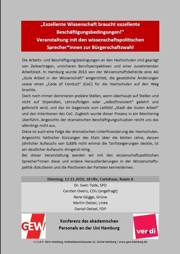 Veranstaltung mit den wissenschaftspolitischen Sprecher*innen zur Bürgerschaftswahl