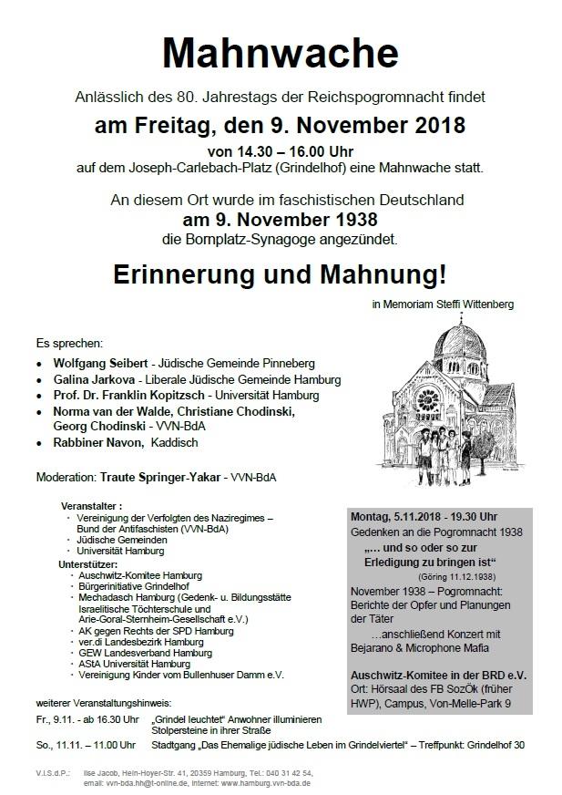 Mahnwache anlässlich des 80. Jahrestags der Reichspogromnacht