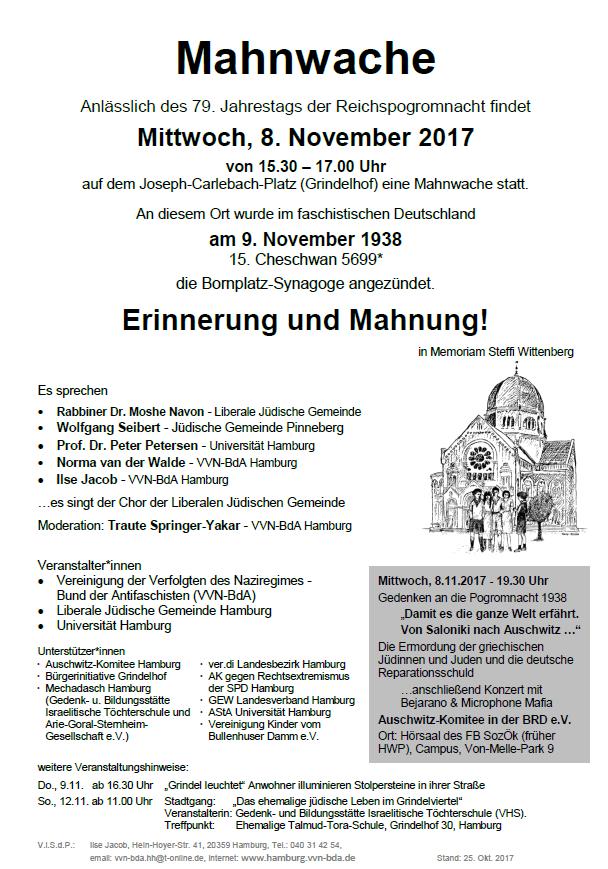 Mahnwache anlässlich des 79. Jahrestags der Reichspogromnacht