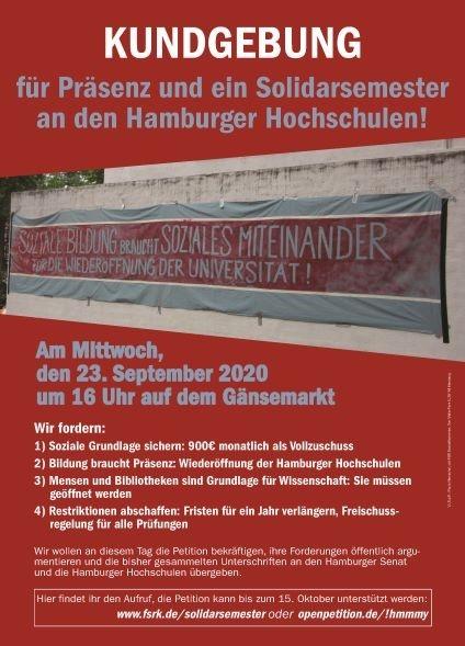 Für Präsenz und ein Solidarsemester an den Hamburger Hochschulen!
