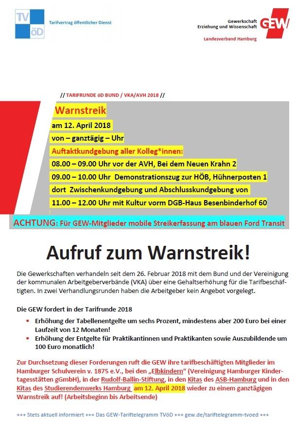 Streikaufruf für den 12. April 2018