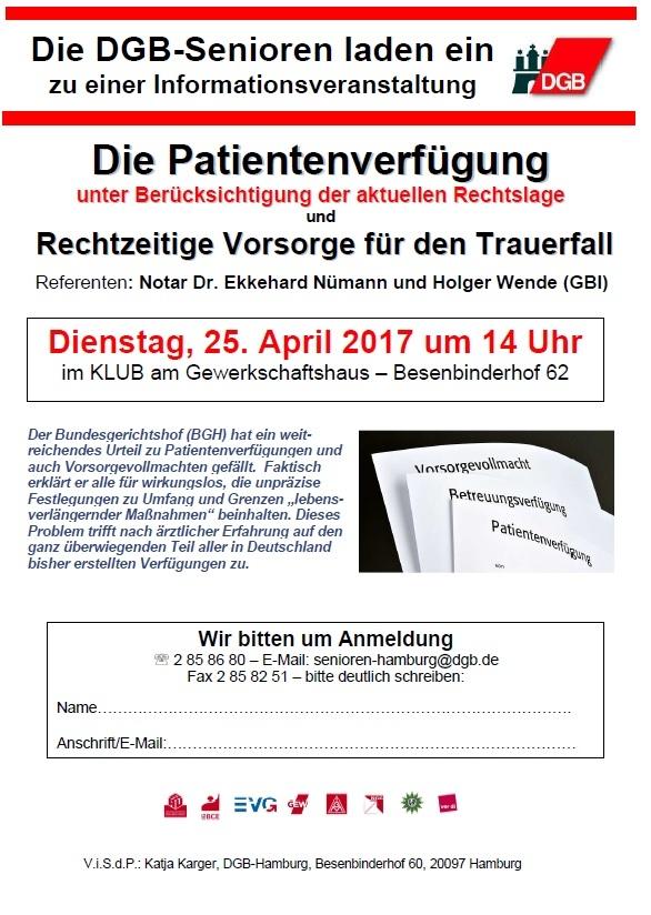 Veranstaltung Patientenverfügung