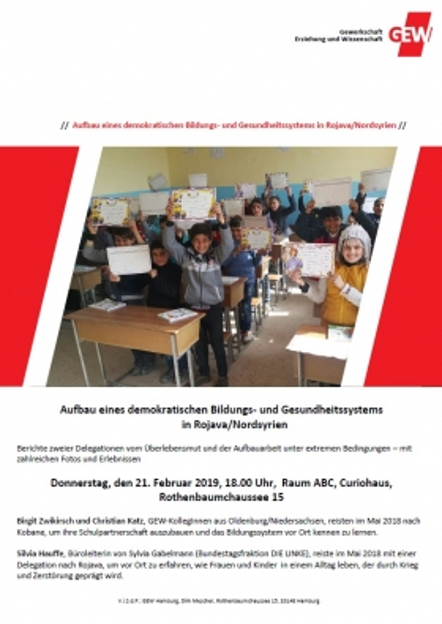 Aufbau eines demokratischen Bildungs- und Gesundheitssystems in Rojava/Nordsyrien