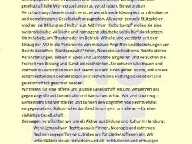 """""""Hamburger Erklärung gegenseitiger Solidarität bei Angriffen von Rechts auf Bildung und Kultur"""""""