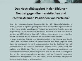 Das Neutralitätsgebot in der Bildung – Neutral gegenüber rassistischen und rechtsextremen Positionen von Parteien?